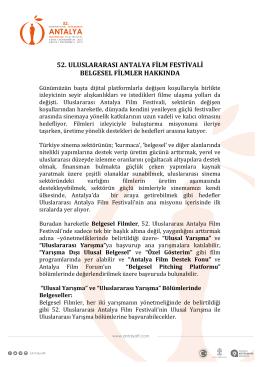 52. ULUSLARARASI ANTALYA FİLM FESTİVALİ BELGESEL