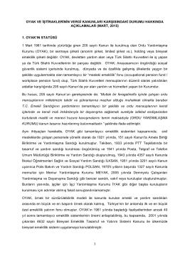 1 oyak ve iştiraklerinin vergi kanunları karşısındaki durumu hakkında