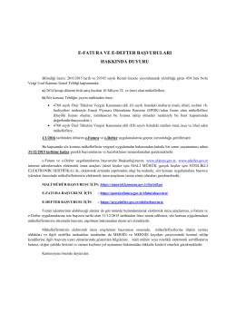 e-fatura ve e-defter başvuruları hakkında duyuru