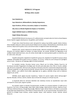 MÜSİAD 25. Yıl Programı 09 Mayıs 2015, Cevahir