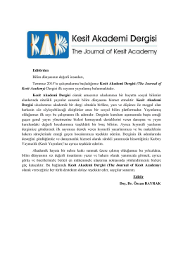 Editörden - DergiPark
