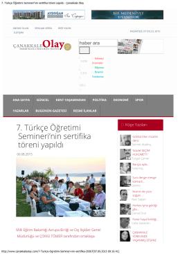 7. Türkçe Öğretimi Semineri`nin sertifika töreni yapıldı