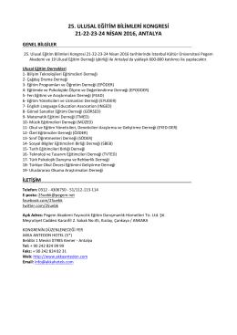 25. ulusal eğitim bilimleri kongresi 21-22-23