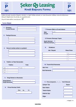 101 Kredi Başvuru Formu 101