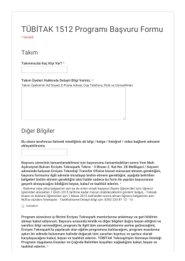 Örnek- TÜBİTAK 1512 Programı Başvuru Formu 3. sayfa