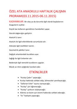 05.11.2015 haftalık çalışma programımız