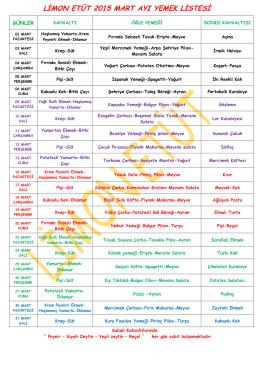 limon etüt 2015 mart ayı yemek listesi