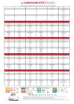 Maslak Kampüsü Ocak Ayı Yemek Listesi