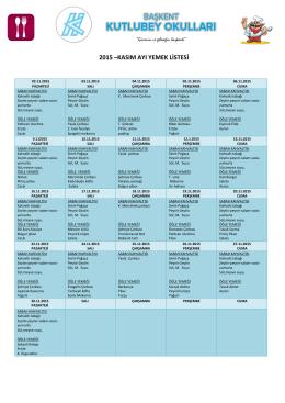 2015 –kasım ayı yemek listesi