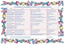 2015-2016 Eylül Ayı Yemek Listesi