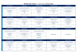 BÜMED MEÇ Okulları Eylül 2015 Yemek Listesi
