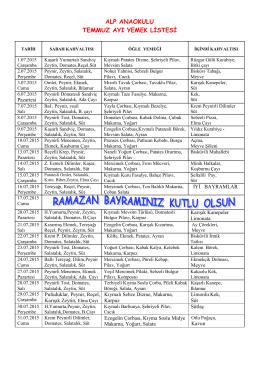 alp anaokulu temmuz ayı yemek listesi