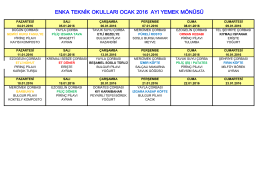 Monthly Food Menu - Enka Teknik Okulları