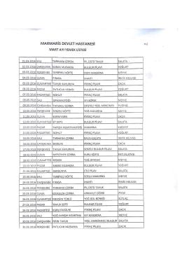 Yemek Listesi - Marmaris Devlet Hastanesi