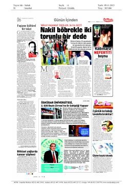 Yayın Adı : Sabah Sayfa : 6 Tarih : 09.11.2015 Ili
