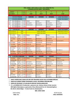 2015-2016 Sınav Takvimi - Özel Gebze Eğitim Kurumları