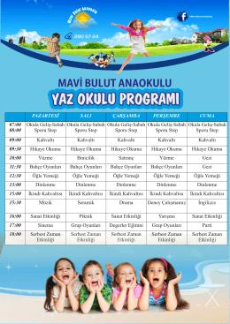 yaz okulu programı - Mavibulut Anaokulu