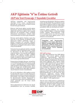 """AKP Eğitimin """"6""""nı Üstüne Getirdi"""