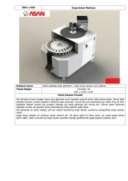 0061-1-000 Draje Dolum Makinesi Kullanım Amacı Belirli adetdeki