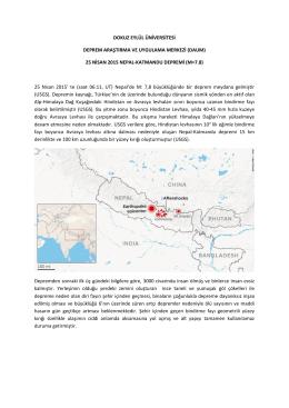 Nepal - Katmandu Depremi - Dokuz Eylül Üniversitesi