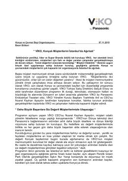 VİKO, KONYALI MÜŞTERİLERİNİ İSTANBUL`da AĞIRLADI 07.11.15