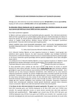 1 ÖĞRENCİLER İÇİN WEB ÜZERİNDEN EKLE/BIRAK KAYIT