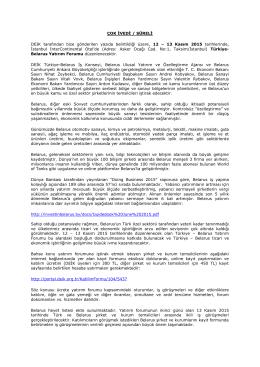 ÇOK İVEDİ / SÜRELİ DEIK tarafından bize gönderilen yazıda