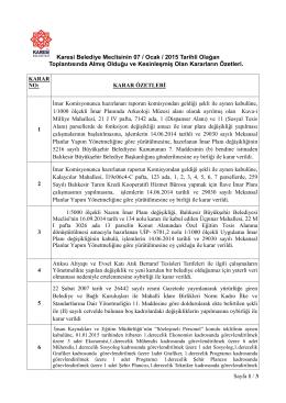 Sayfa 1 / 3 Karesi Belediye Meclisinin 07 / Ocak / 2015 Tarihli