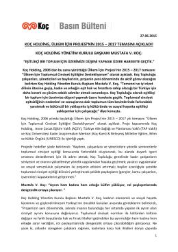 koç holding, ülkem için projesi`nin 2015 – 2017 temasını açıkladı!