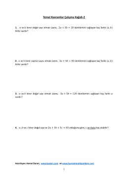 Temel Kavramlar Çalışma Kağıdı-2
