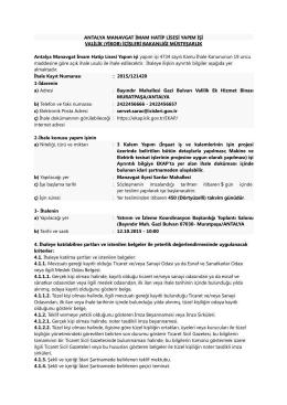 Ek - 1 : Antalya Manavgat İmam Hatip Lisesi Yapım İşi