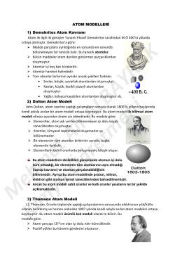 ATOM MODELLERİ 1) Demokritos Atom Kavramı Atom ile ilgili ilk