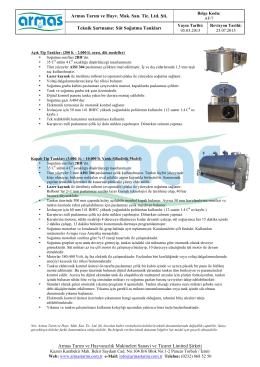 Süt Soğutma Tankları Teknik Şartnamesi