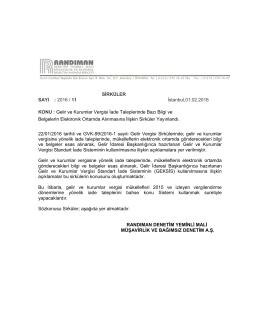 SİRKÜLER SAYI : 2016 / 11 İstanbul,01.02.2016 KONU : Gelir ve