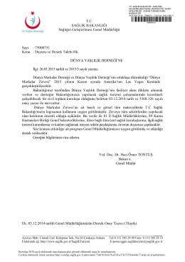 T.C. Sağlık Bakanlığı Duyuru ve Destek Yazısı