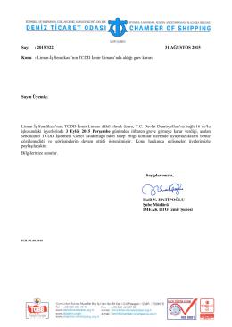 Sayı : 2015/322 31 AĞUSTOS 2015 Konu : Liman