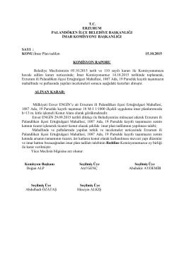2015 Ekim Ayı Meclis Komisyon Kararları