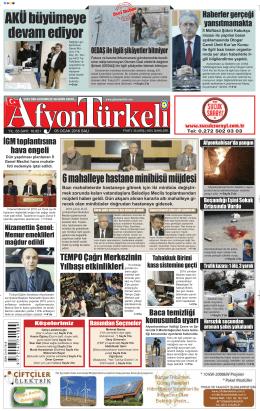 05 OCAK 2016 SALI - Afyon Türkeli Gazetesi haber afyonkarahisar