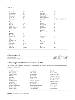 Acknowledgment of Reviewers for Volume 9, 2015 Acknowledgment