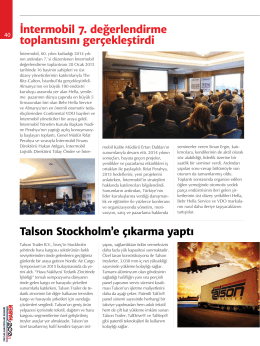 Talson Stockholm`e çıkarma yaptı İntermobil 7. değerlendirme