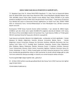 KONYA TARIM FUARI 282.613 ZİYARETÇİYE EV SAHİPLİĞİ YAPTI