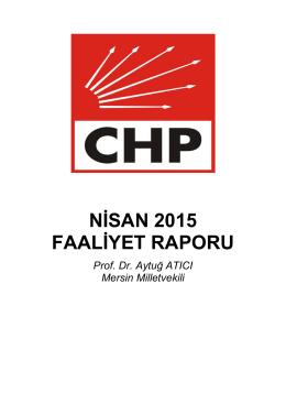NİSAN 2015 FAALİYET RAPORU