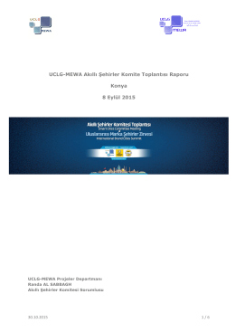 UCLG-MEWA Akıllı Şehirler Komite Toplantısı Raporu Konya 8 Eylül