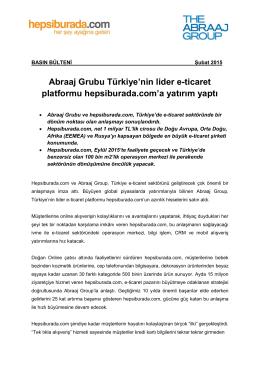 Abraaj Grubu Türkiye`nin lider e-ticaret platformu