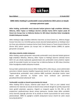 Akfen Holding EBRD Ortaklık Sözleşmesi Basın Bülteni Aralık 2015