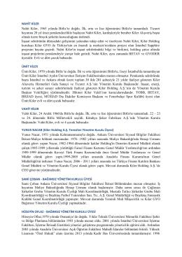 Kiler GYO Yönetim Kurulu Üyesi Adayları