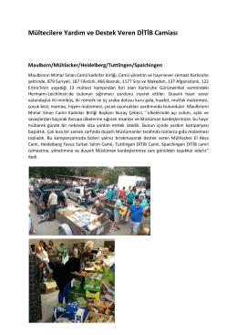 Mültecilere Yardım ve Destek Veren DİTİB Camiası