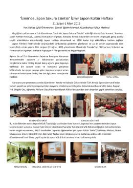 `İzmir`de Japon Sakura Esintisi` İzmir Japon Kültür Haftası