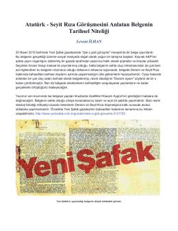Atatürk - Seyit Rıza Görüşmesini Anlatan Belgenin