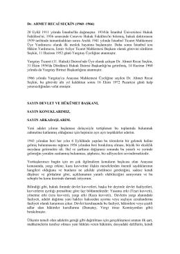 Yargıtay Onursal 1. Başkanı Sayın Dr.Ahmet Recai Seckin`in 1960